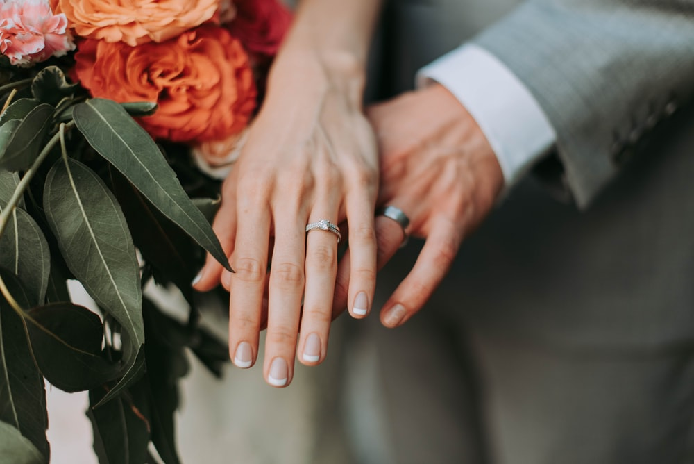 Description: couple wearing silver-colored rings